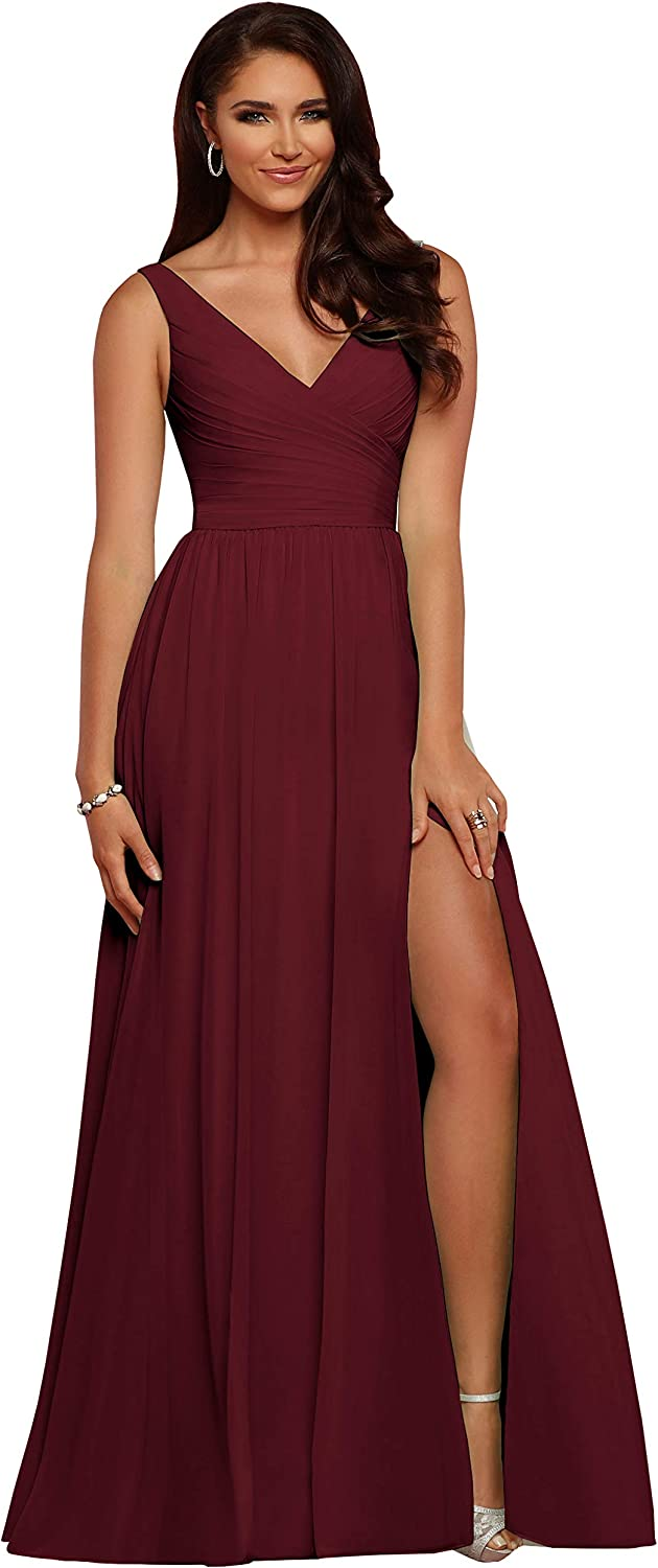 Women's V Neck Bridesmaid Dresses Long Slit A Line Pleated Chiffon Formal Evening Party Gowns