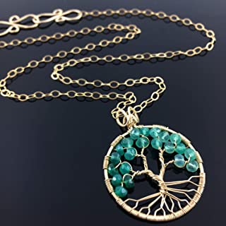 May Birthstone Emerald Green Onyx Pendant Gold Tree of Life Gemini Necklace Heart Chakra Peace Amulet