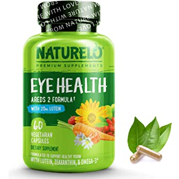 NATURELO Eye Vitamins - AREDS 2 Formula with Lutein, Zeaxanthin, Natural Vitamin C, Zinc - Supplement for Dry Eyes, Vision Preservation, Eye Health, Macular Support - 60 Vegan Capsules