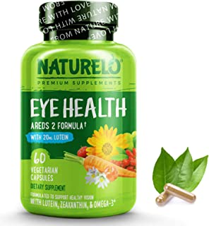 NATURELO Eye Vitamins - AREDS 2 Formula with Lutein, Zeaxanthin, Natural Vitamin C, Zinc - Supplement for Dry Eyes, Vision...
