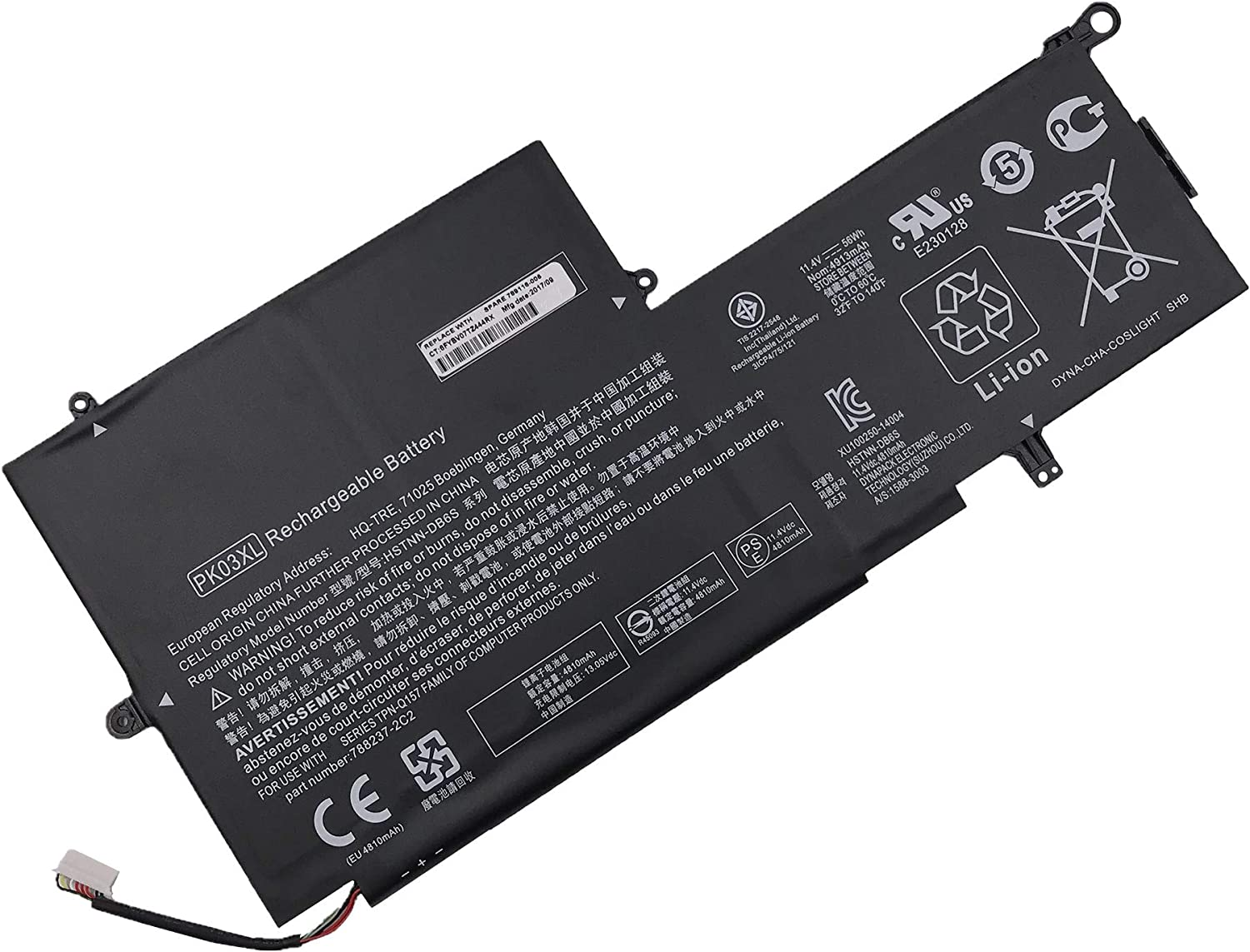 7XINbox 11.4V 56Wh PK03XL Replacement 5 ☆ popular Don't miss the campaign Spec for Laptop HP Battery