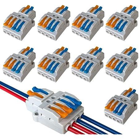 QitinDasen 9Pcs KV424 Palanca Tuerca Cable Conector, 2 en 4 fuera Bilateral 6 Puertos Compacto Conductor Conector, Rápido Cable Conector Resorte Bloque Terminal