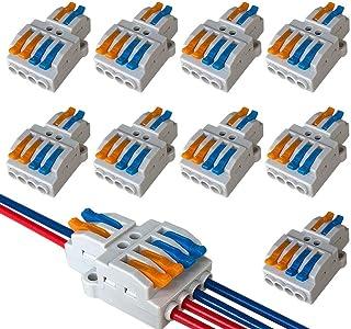 QitinDasen 9Pcs KV424 Palanca Tuerca Cable Conector, 2 en 4 fuera Bilateral 6 Puertos Compacto Conductor Conector, Rápido ...