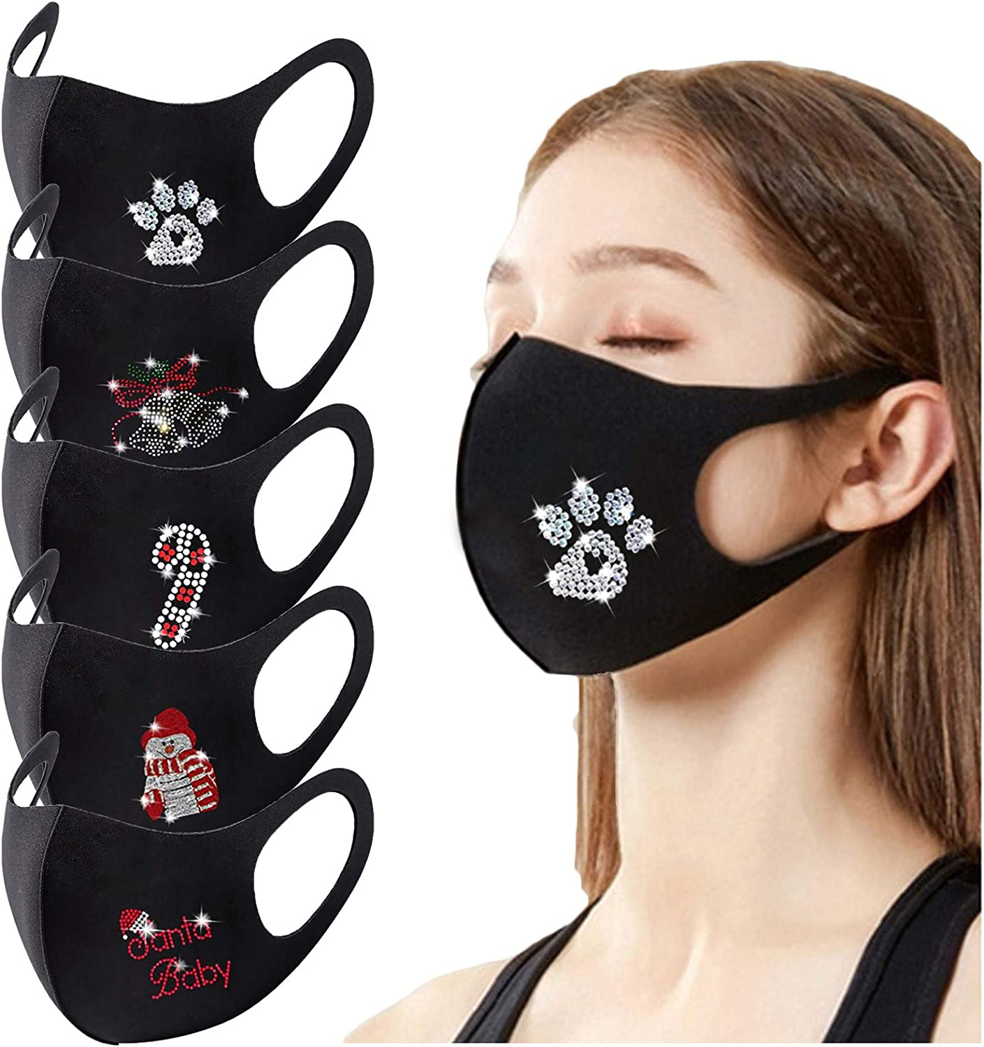 Gerichy Christmas Facemask for Adults, Adult Face Balaclava Reusable Breathable Bling Rhinestone Fashion Cloth Face_Mask