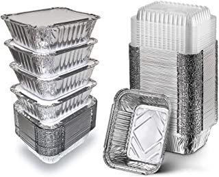 """50 Pack Disposable Aluminum Foil Pans with Clear Plastic Lids, 5.5"""" x 4.5"""" Takeout Food Containers Eco Friendly Recyclable..."""