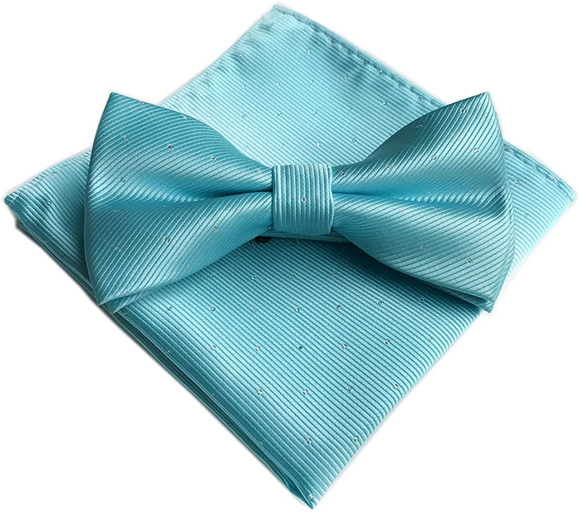 Men's Bowtie Set Pin Dots Wedding Party Solid Pre-tied Bow Tie and Pocket Square Set