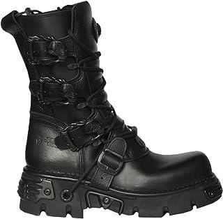 New Rock 391-S18 Boots Couleur Noir Réacteur Metallic Por Hommes Cuir Naturel Style Gothique Rock Motard