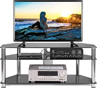 TAVR Black Tempered Glass Corner TV Stand Cable Management Suit for up to 60 inch LCD, LED OLED or Curved Screen TVs,Chrome Legs TS2003