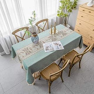 pridesong Patrón Exquisito Mantel Tela Bordada Estilo clásico Mantel Rectangular Mantel Verde (patrón de jardín) 140 * 180...