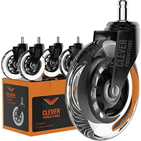 Caster Chair Wheels Office Replacement Set of 5 | 99% Universal Fit Rollerblade Style 3 Inch by Clever Casters | No Floor Mat Heavy Duty Protection for Hardwood Tile Vinyl Carpet