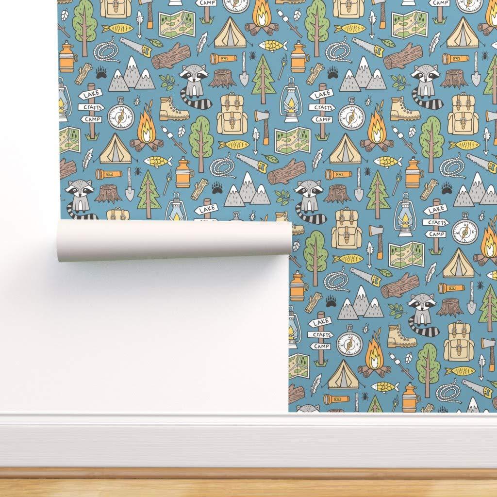 Amazon Caja Design キャンピング壁紙ロール アウトドアウッドランドラクーンフォレストアウトドアサマー 1ロール 24インチ X 27フィート Roll 24in X 27ft R Iso2427 Cw D S1 壁紙