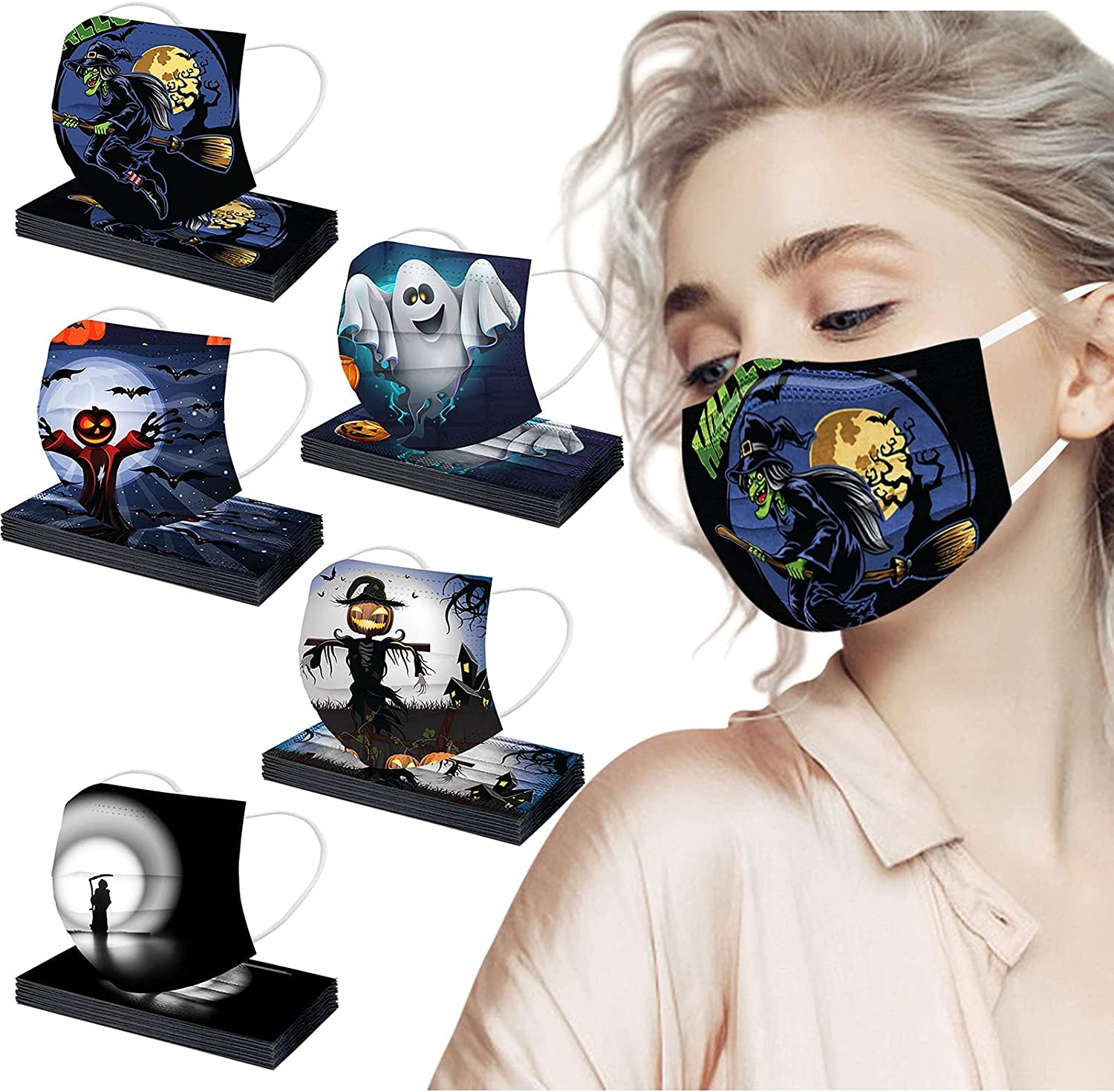 50PC Halloween Disposable Face Masks 3Ply Nonwoven Shield Breathable Filter Protectors Safety Mouth Cover for Women Men