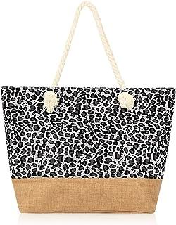 Large Reusable Eco Shopper Beach Tote - Canvas Fabric Travel Shoulder Bag Plaid Stripe, Animal, American Flag