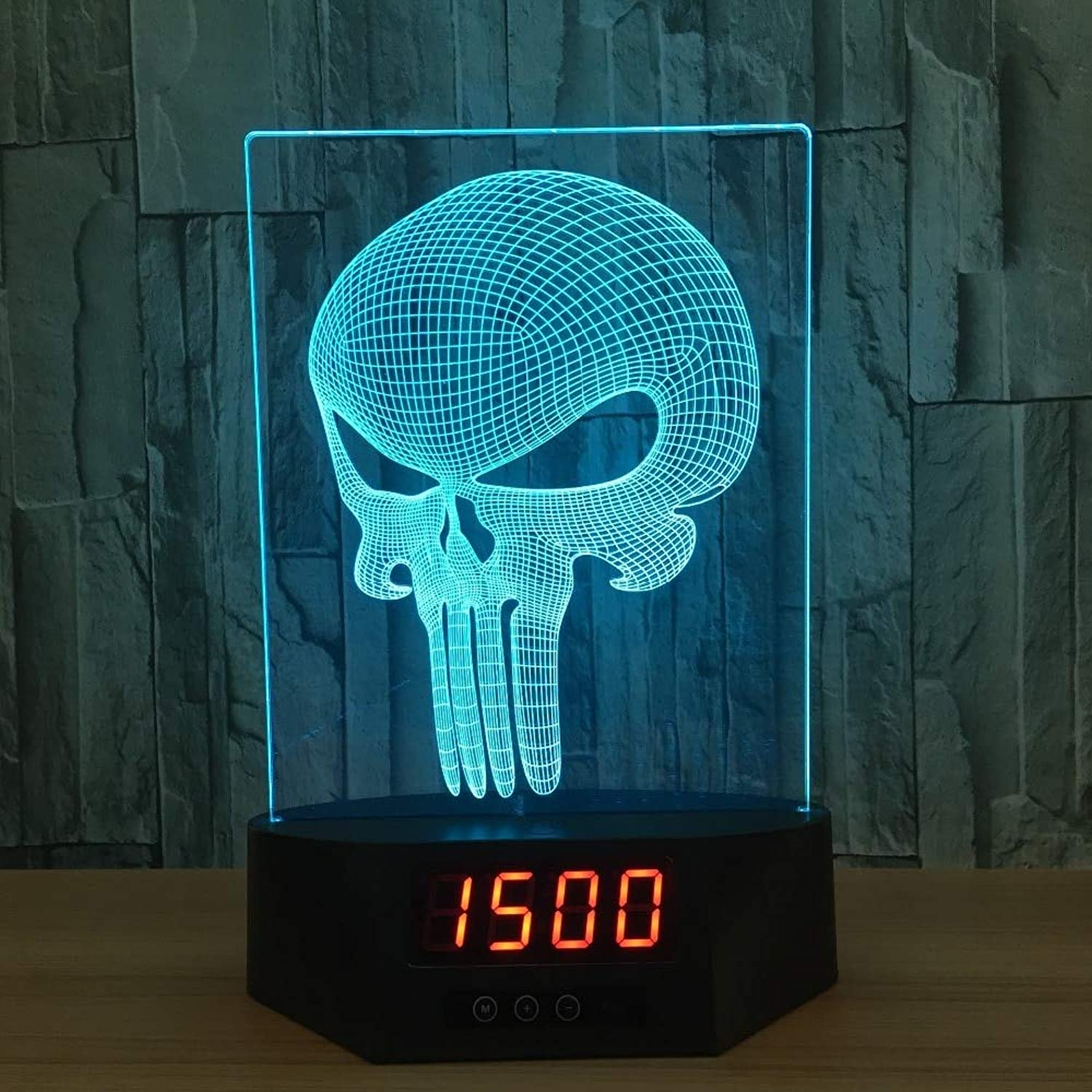 JFSJDF The Skeleton Acrylic 3D Calendar Night Light Led 7 Colour Remote Touch Switch Desk Lamp Punishment Mask Lamp Creative Gift