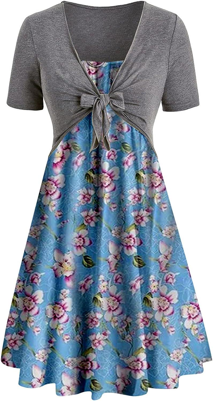 Dresses for Summer, Women Short Sleeve Cross Knot Bandage Top Flower Print Mini Suit Dress