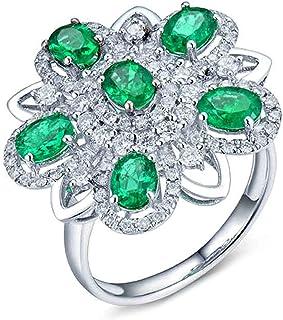 Daesar Anelli di Matrimonio Oro Bianco 18K, Anello di Fidanzamento Anello Smeraldo Donna 1.51ct A Forma di Fiore Pendente ...