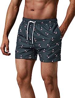 218b95e1a8 MaaMgic Homme Short de Bains Imprimé Séchage Rapide avec Slip en Filet  Maillot de Bain Pants
