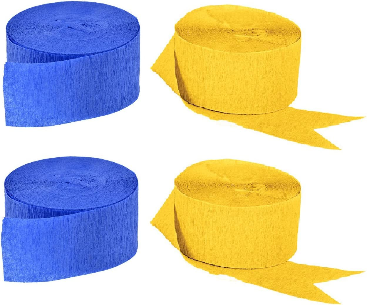 Blue and Gold Yellow Crepe Paper Streamers, 4 Rolls Total, Made