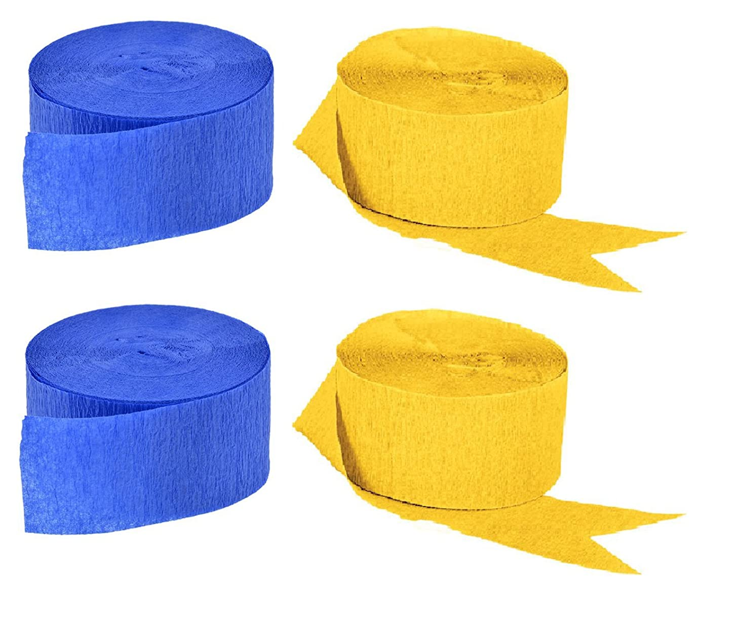2 Rolls Blue + 2 Rolls Gold Yellow Crepe Paper Set