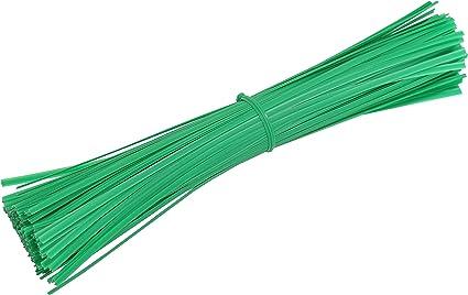 x 100 GARDEN TIES PLASTIC TIES PLANT TIES CABLE TIES GREEN ASSORTED SIZES