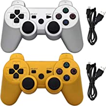 Ceozon PS3 Controller Wireless Playstation 3 Dualshock 3 Controller Sixaxis Dualshock Bluetooth Gamepad for Playstation 3 Remote Joystick with Charging Cords 2 Pack Silver + Gold