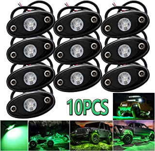 LEDMIRCY LED Rock Lights Green Kit for Off Road Truck ATV SUV Car Boat Auto High Power Underbody Glow Neon Trail Rig Lamp Underglow Lights Waterproof Shockproof(Pack of 10,Green)