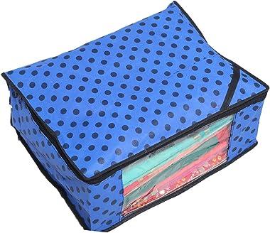Kuber Industries™ Designer Non Woven Polka Dots Designer Saree Cover Set of 12 Pcs (Royal Blue + Orange + Ivory)