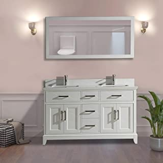 Vanity Art 60 Inch Double Sink Bathroom Vanity Set | Super White Phoenix Stone, Soft Closing Doors Undermount Rectangle Sinks with Free Mirror - VA1060-DW
