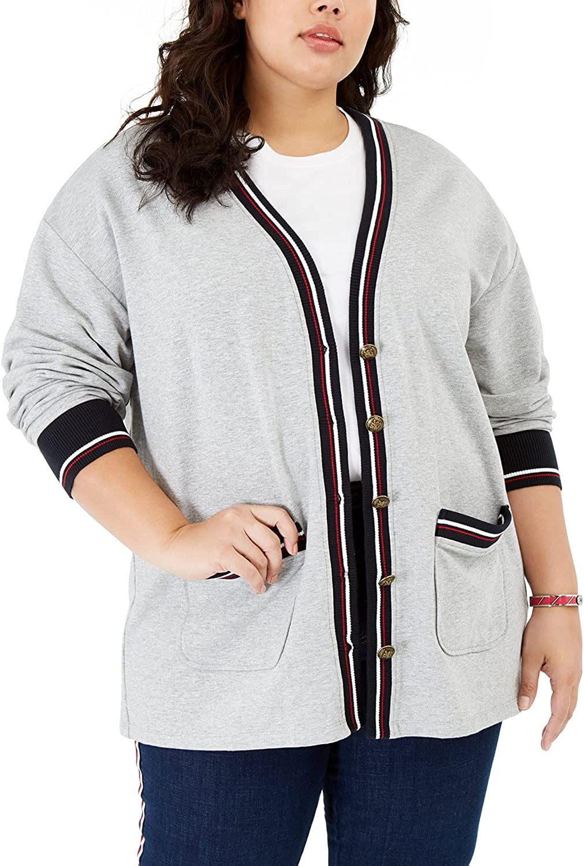 Tommy Hilfiger Womens Plus Contrast Trim Button-Down Cardigan Top Gray 2X