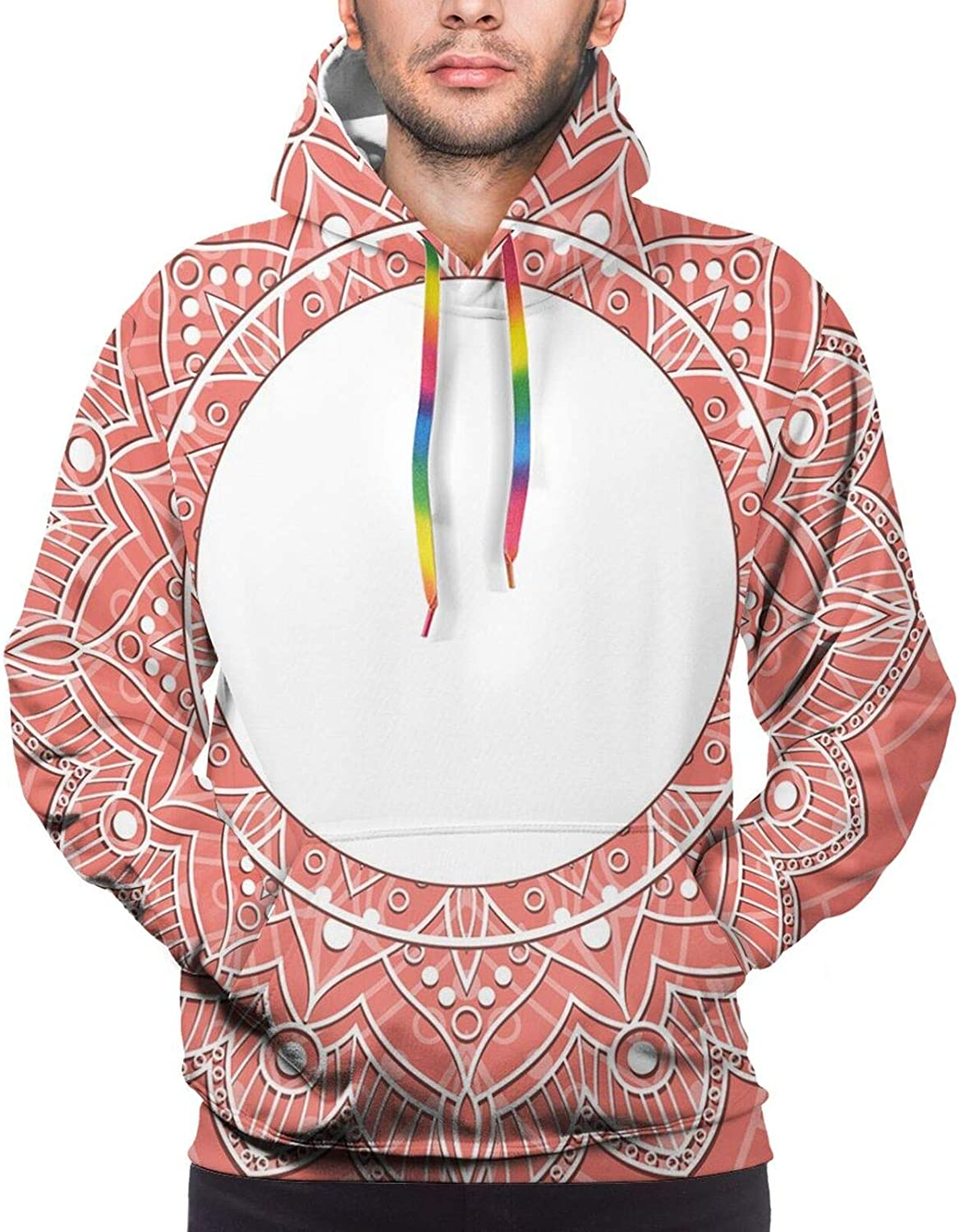 Men's Hoodies Sweatshirts,Lace Design with Lines and Circles Bridal Inspirations with Soft Colored Background