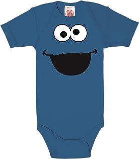 Logoshirt Krümelmonster Baby-Body Kurzarm Junge - Sesamstrasse - Cookie Monster - Face Baby Strampler - blau - Lizenziertes Originaldesign