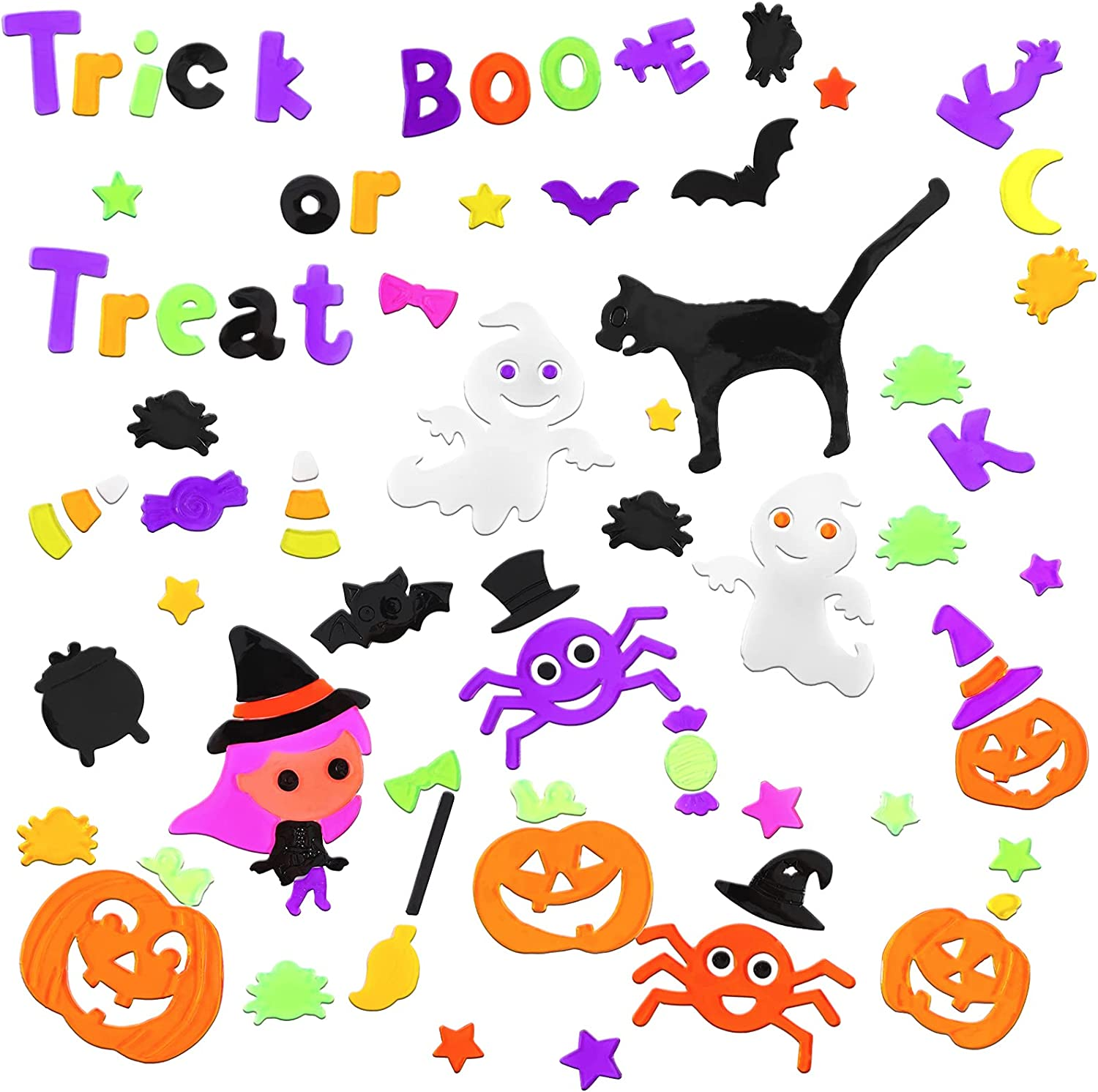 6 Sheets Halloween Window Clings Stic Gel low-pricing Max 70% OFF Colorful