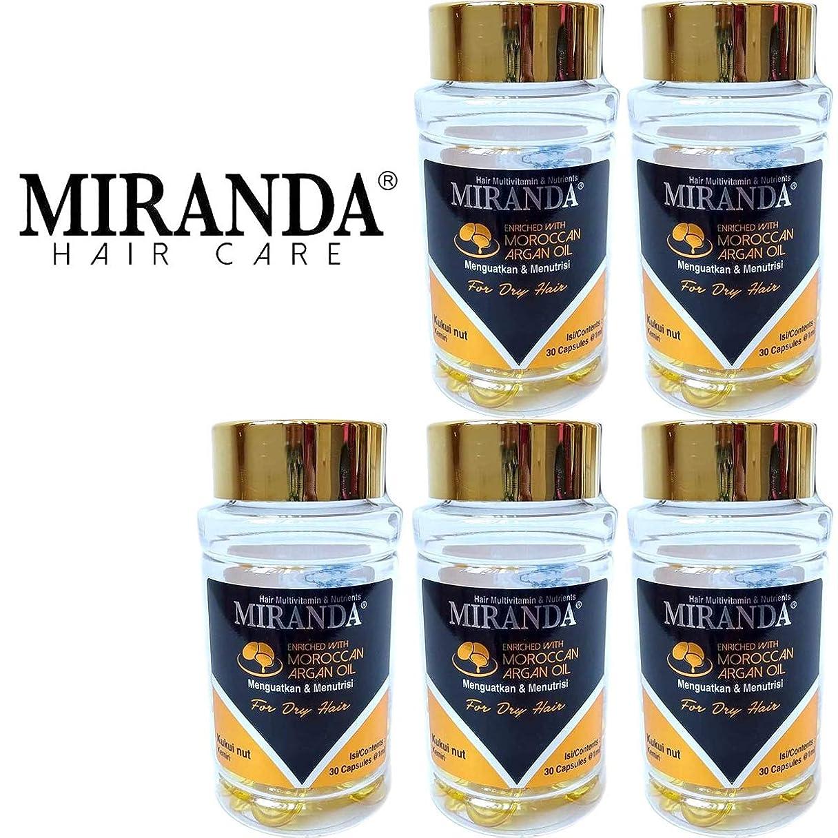 酸化する暗いリースMIRANDA ミランダ Hair Multivitamin&Nutrients ヘアマルチビタミン ニュートリエンツ 洗い流さないヘアトリートメント 30粒入ボトル×5個セット Kukui nut クミリ [海外直送品]