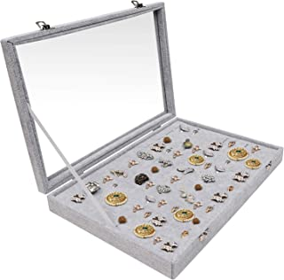 Hivory 100 Slots Rings & Ear Rings Storage Box with Transparent Lid ~ Ample Space ~ See Through Top Display Case Accessories Storage Jewelry Box (100 Slot)