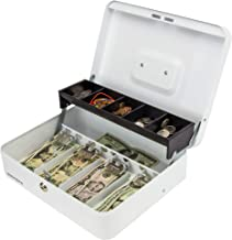 White Steel Cash Box with Safe Key Lock | Tiered Money Coin Tray and Bill Slots | Portable and Compact | 4 Keys | Metal Lockable Storage Box for Change, Petty Cash, Fundraiser, Garage Sale
