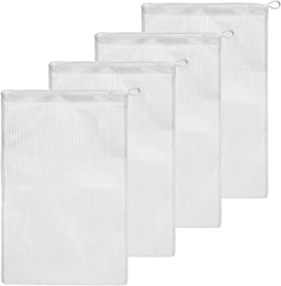 4 Pack Koi Pond Mesh Media Filter Bags - High Flow 500 Micron - 8 inch by 12 inch Pouch with Drawstrings for Activated Carbon - Reusable Water Garden or Aquarium Charcoal Filter Bag (4 Pack)
