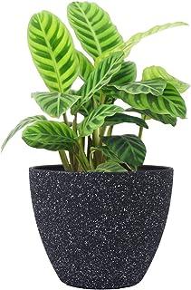 LA JOLIE MUSE Flower Pots Indoor Outdoor Planter - 8.6 Inch Planter Pot with Drainage, Modern Plant Pot, Speckled-Black