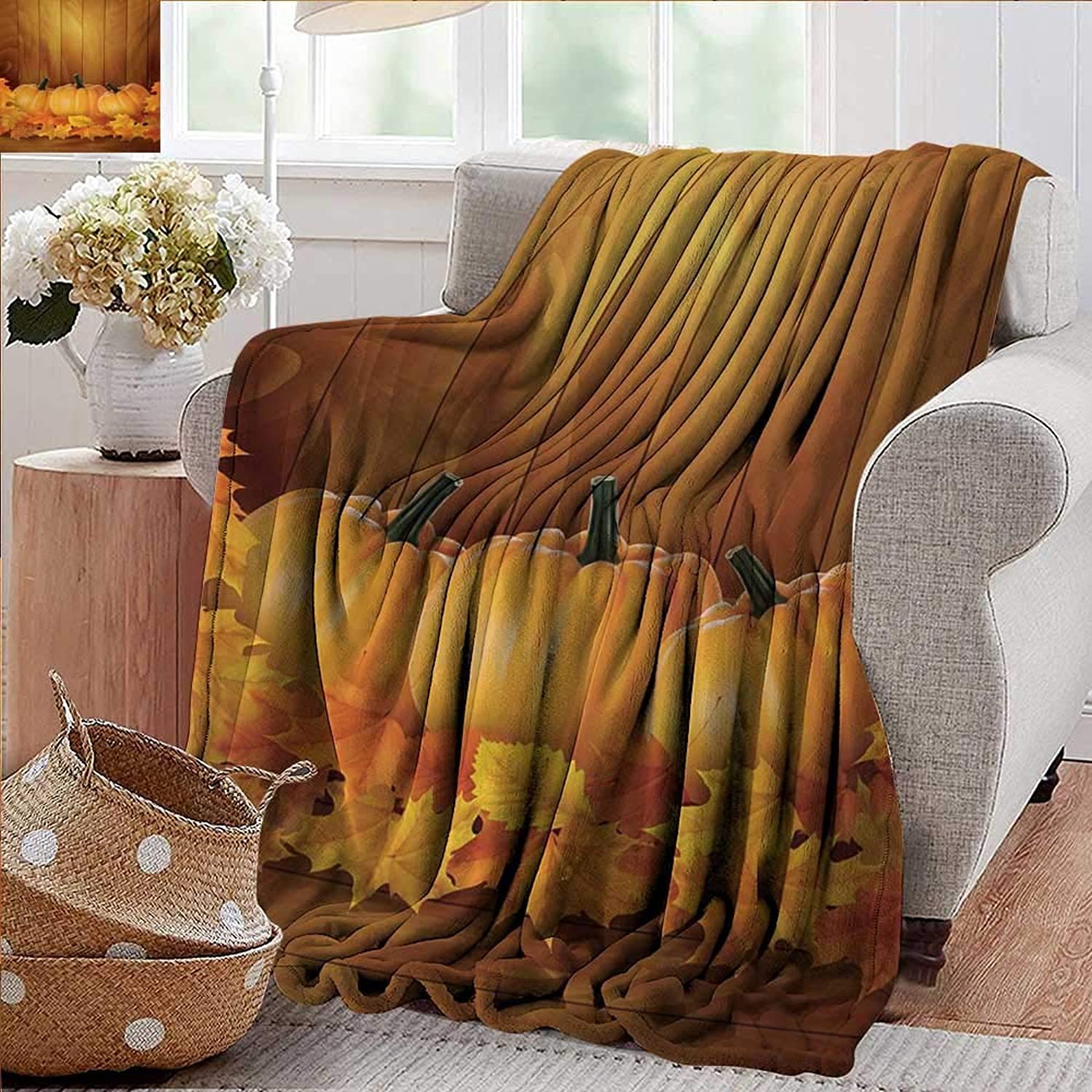 Weighted Blanket for Kids,Harvest,Squash Vegetables Pumpkins and Wooden Planks Fallen Dry Maple Leaves,orange Yellow Dark Green,Weighted Blanket for Adults Kids, Better Deeper Sleep 50 x70