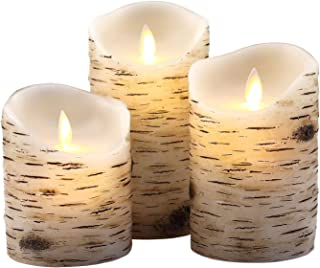 """Aku Tonpa Birch Bark Effect Flameless Candles Battery Operated Pillar Real Wax Flickering Moving Wick Electric LED Candle Sets with Remote Control Cycling 24 Hours Timer, 4"""" 5"""" 6"""" Pack of 3"""