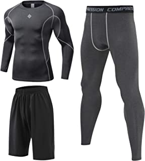 Milin Naco 3 Pcs Men's Workout Clothes Set with Compression Pants, Long Sleeve Shirts and Sport Shorts