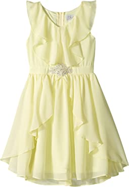 Ruffle Front Chiffon Dress w/ Brooch (Big Kids)