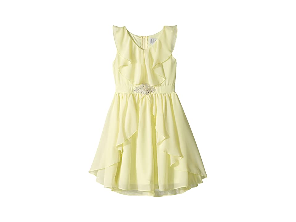 Us Angels Ruffle Front Chiffon Dress w/ Brooch (Big Kids) (Yellow) Girl