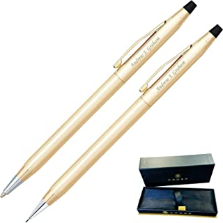 Dayspring Pens | Engraved/Personalized Cross Classic 10 Karat Gold Plated Pen and Pencil Gift Set. Custom engraved in 1 day 450105.