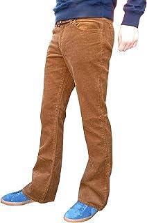 Pantaloni marrone chiaro beige da uomo a zampa a coste