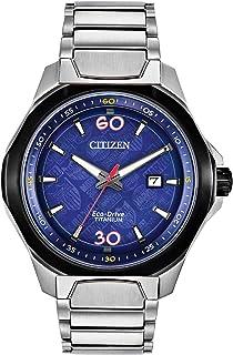 Citizen Eco-Drive Marvel 80th Anniversary AW1548-86W - Orologio da uomo con cinturino in titanio e quadrante blu al quarzo