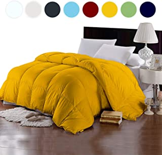 Bedding Homes 100% Organic Cotton 500 GSM Box Stitched Comforter 600 TC GOTS Certified Luxury Light-Weight Italian Finish Quilt Cozy Ultra-Soft Fluffy by (King/Cal-king, Gold)