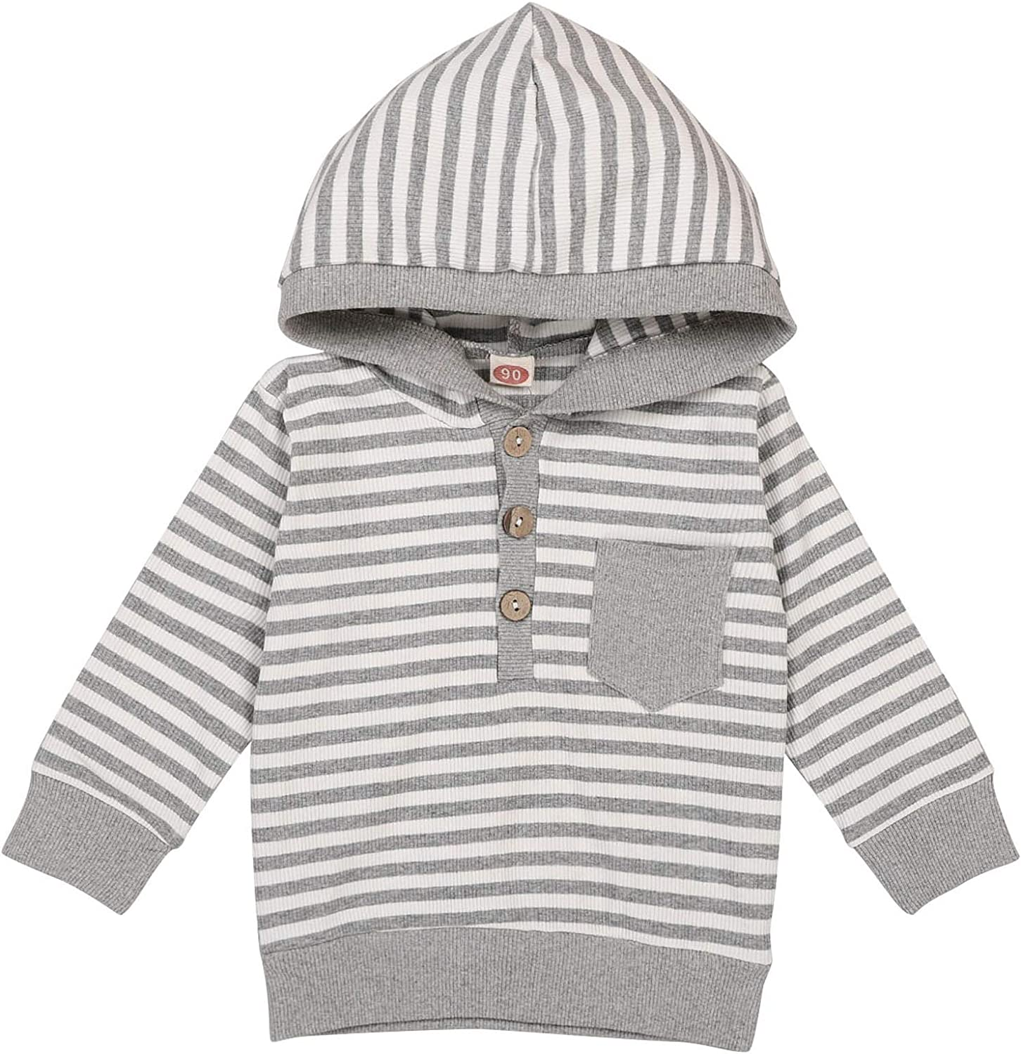 Infant Baby Boy Girl Hoodie Romper Pullover Unisex Stripe Long Sleeve Jumpsuit Top Knit Button One Piece Clothes