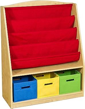 Guidecraft Book and Bin Browser with 3 Fabric Bins: Kids Book Rack Storage Bookshelf, Cube Bins for Toys Organizer, Classroom
