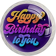 AITAI Gelukkige Verjaardag aan u Paars Ronde Kabinet Knop 4 Pack Trekt Handvatten