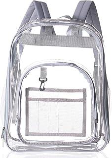 SOOBA Clear Backpack Heavy Duty Through Bookbag for Women Transparent Large Backpacks